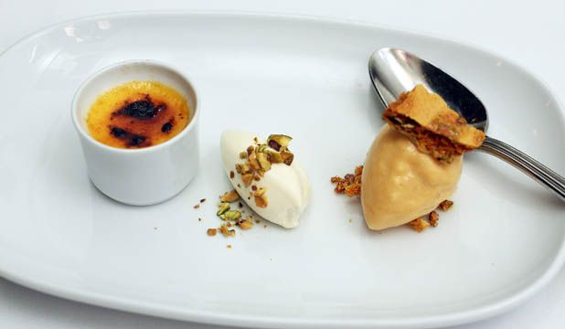 ... , served with pistachio ice cream and pistachio and ginger brittle