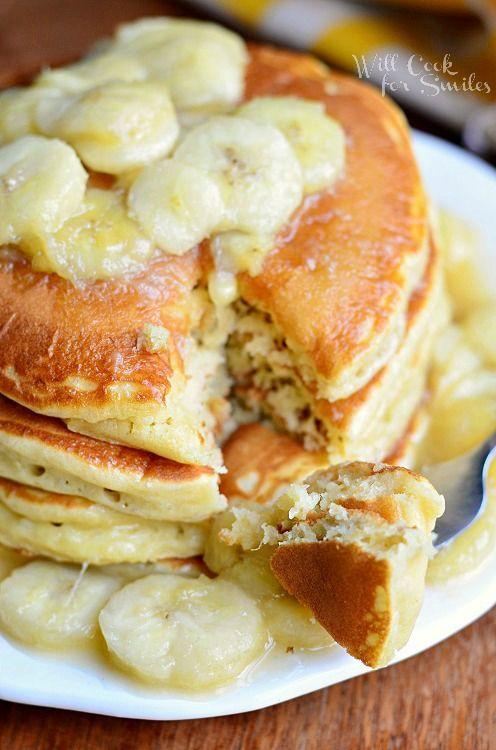 Bananas Foster Pancakes 3 from willcookforsmiles.com #pancakes # ...