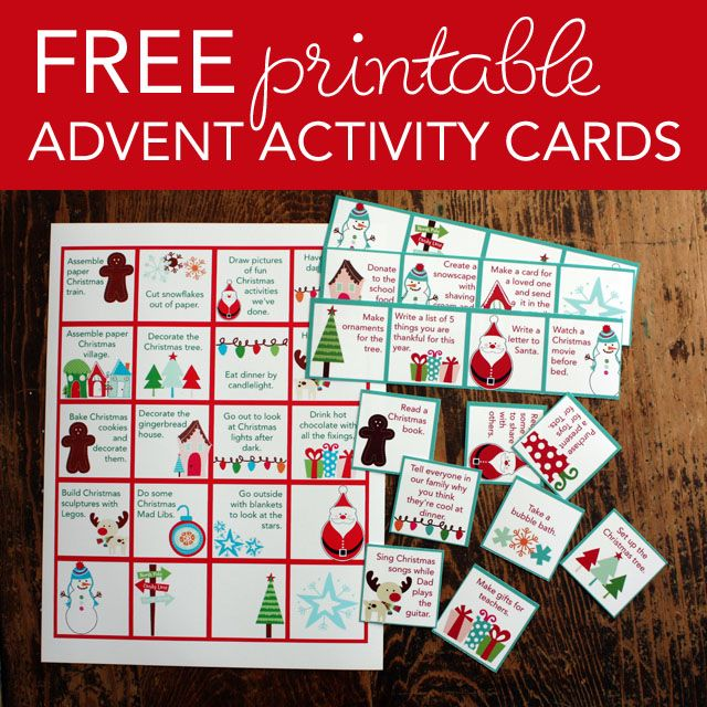 Free printable advent activity cards christmas pinterest for Pinterest advent