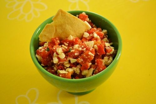 Htipiti (roasted red pepper dip for pita/bread/chips/things that are ...