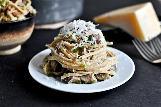 PORTOBELLO AND LEEK CARBONARA | food inspiration | Pinterest
