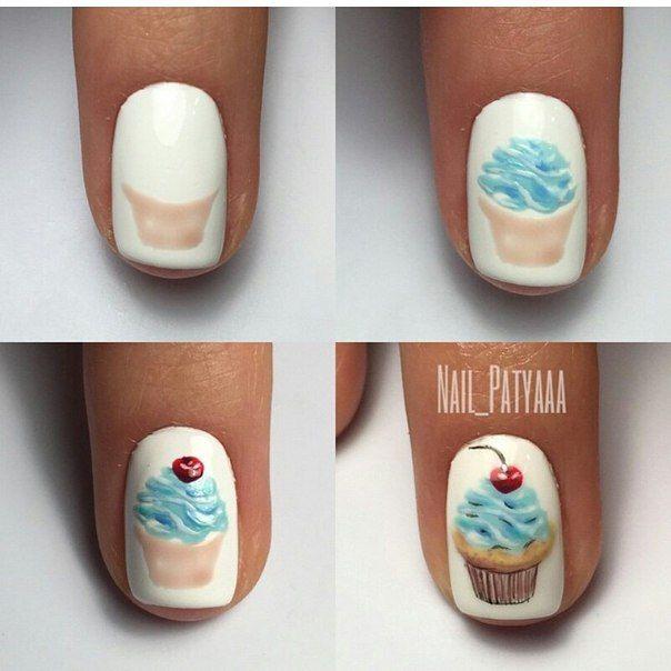 Как рисовать пироженки на ногтях