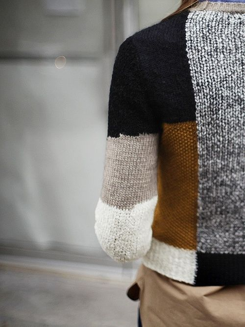 Knitting Pattern Patchwork Cardigan : patchwork knit sweater - by carven comfort on me Pinterest