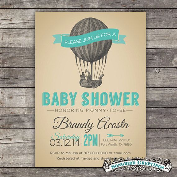 Hot air balloon baby shower invitationcustomizable