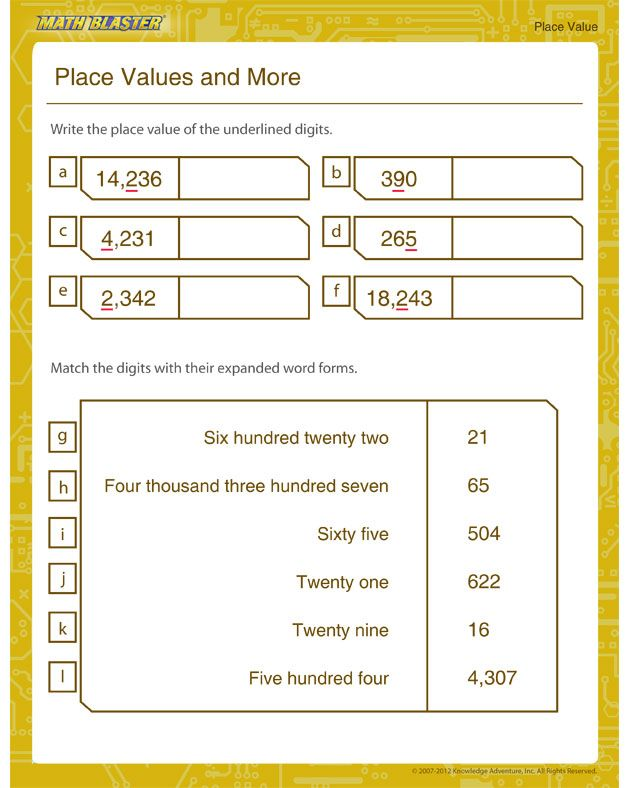 Printable Place Value Worksheets