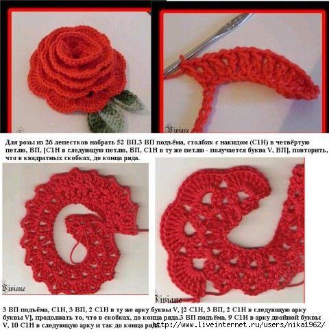 Розы вязание крючком
