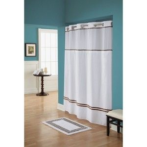 Escape hookless shower curtain white brown 72 target mobile