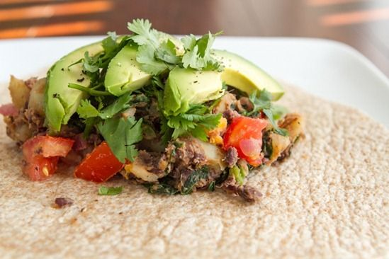 Spicy Potato and Black Bean Burritos- this is great, even without the ...