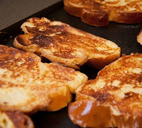 Vanilla Scented Challah French Toast with Macerated Strawberries