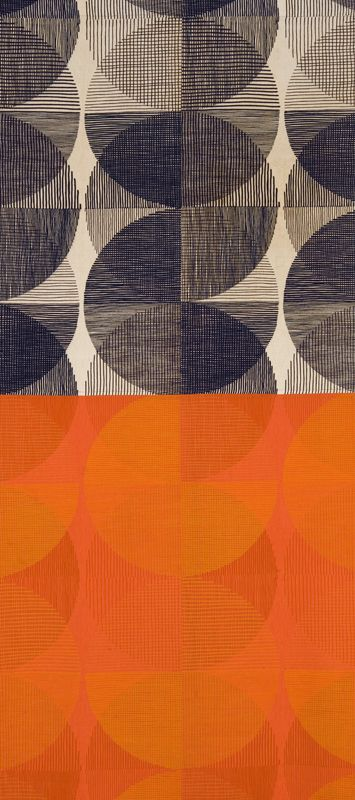 """Spheres (""""Black on Natural"""" and """"Red and Orange on Persimmon"""" colorways) Ross Littell (American, 1924–2000) Made by Winston Prints for Knoll Textiles Introduced 1959 Used for drapery; linen, cotton; plain weave, screen-printed 98 1/4 x 44 3/8 in. (249.6 x 112.7 cm)"""