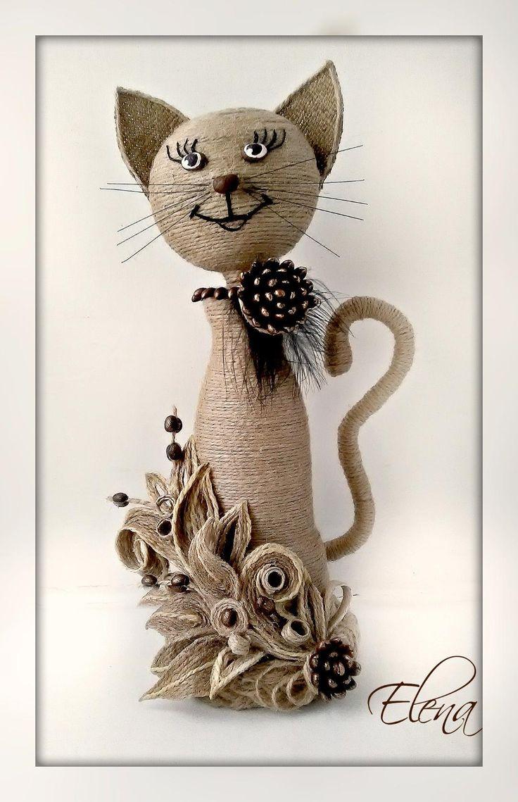 Коты из бутылки и шпагата своими руками 11