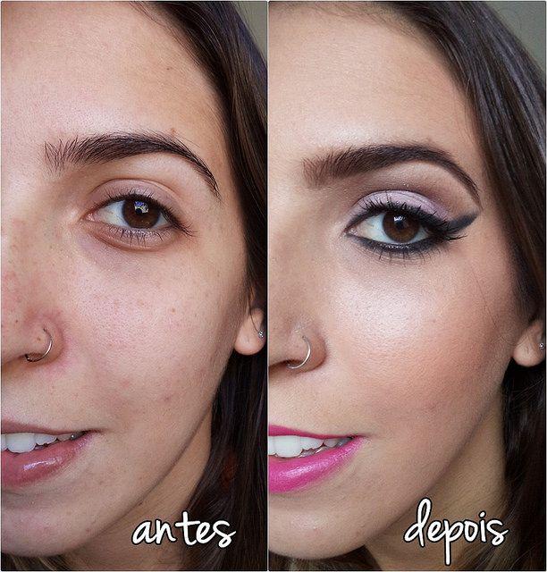Antes e depois da preparação de pele na maquiagem // Before and ...
