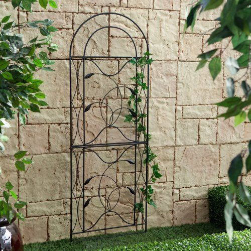 Metal trellis black constructed of durable metal and featuring a