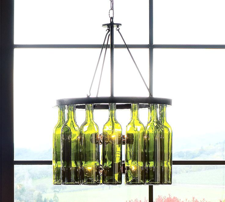 wine bottle chandelier crafty pinterest