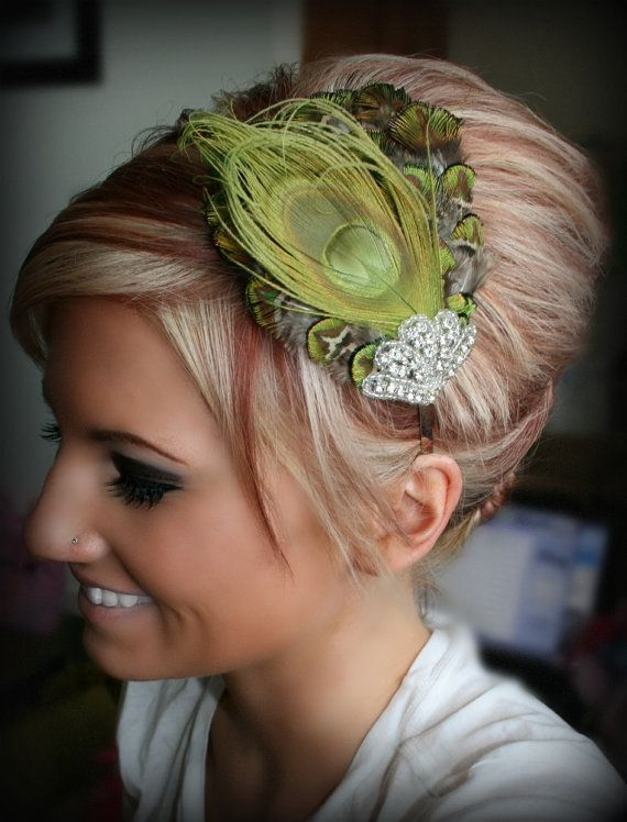 Beautiful lime green peacock headband.