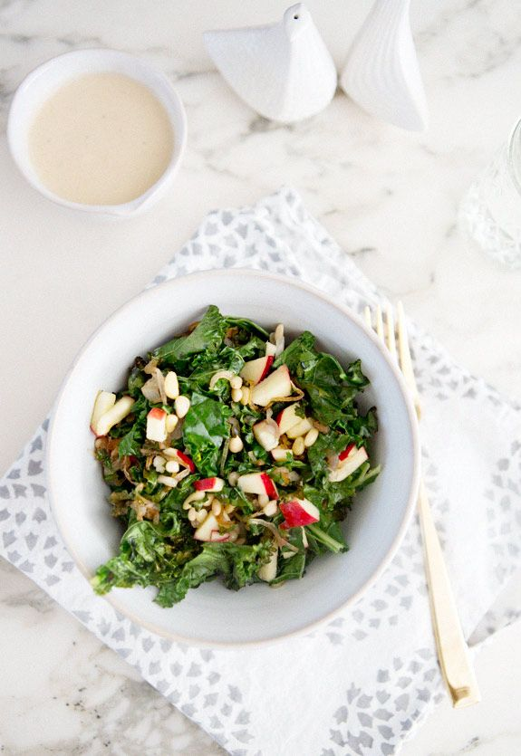 Warm Kale Salad with Caramelized Shallots, Pine Nuts and Apple