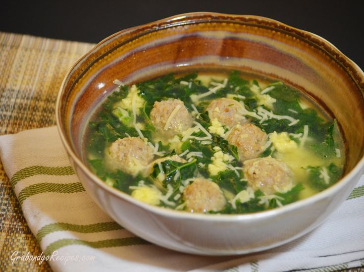 Italian Wedding Soup ♦ [For the Meatballs:] ground beef, ground pork ...