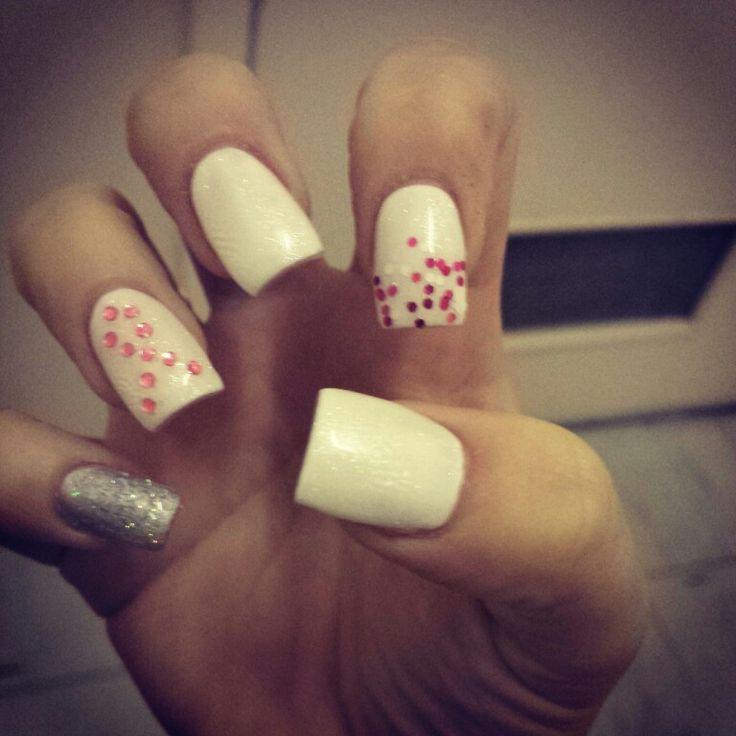 cancer white pink sparkles silver gel shellac polish acrylic nails