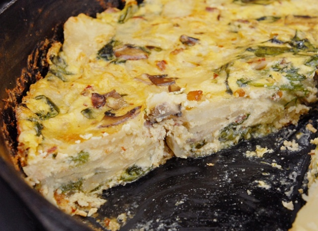 Fritatta with mushrooms, spinach and potatoes. Subs-bacon for tempeh ...