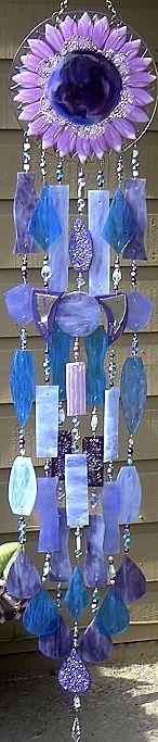 Purple sunflower wind chime