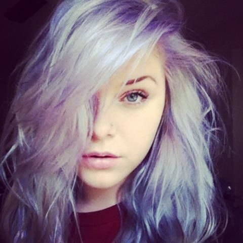 white hair purple highlights!   l