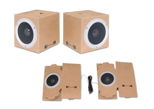 Made from recycled materials, these three-inch cube speakers can fold flat when not in use. OrigAudio Fold and Play Recycled Speakers in Canvas, $15 for a set of two; origaudio.com
