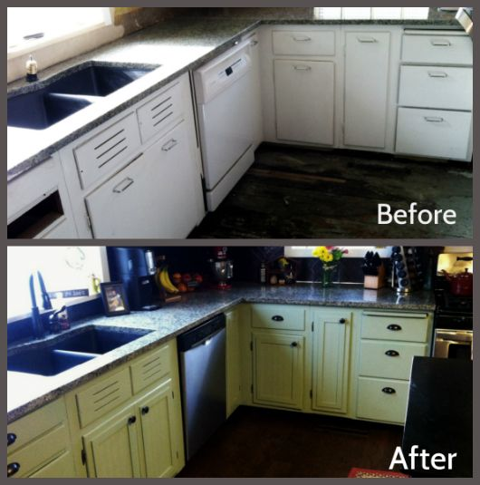 Kitchen cabinets before and after living quarters for Diy kitchen cabinets