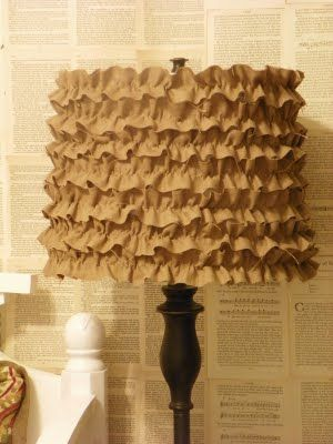diy- ruffle lamp shade (glue ruffle ribbon). So cute and easy.