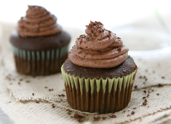 Caramel Filled Chocolate Cupcakes with Chocolate Buttercream