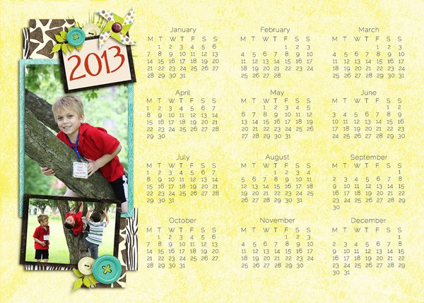 calendar template by Snickles Corner Crafts, FREE with Purchase: http ...