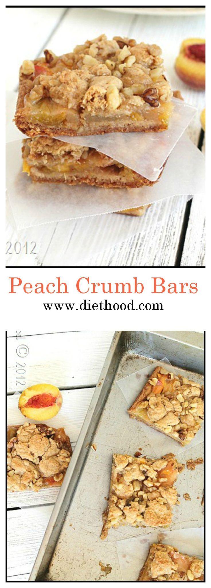 Peach Crumb Bars | www.diethood.com