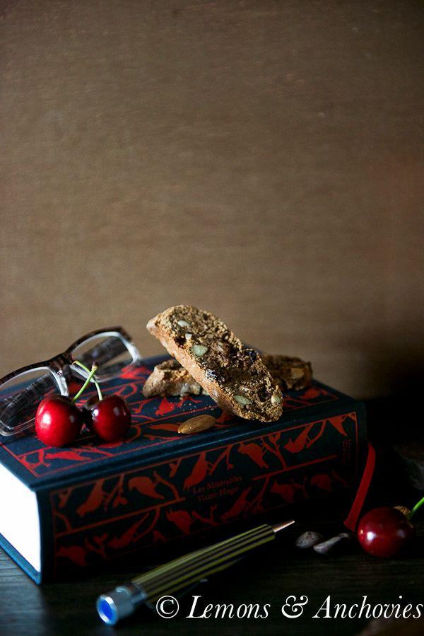Chocolate Cherry Almond Biscotti | http://lemonsandanchovies.com
