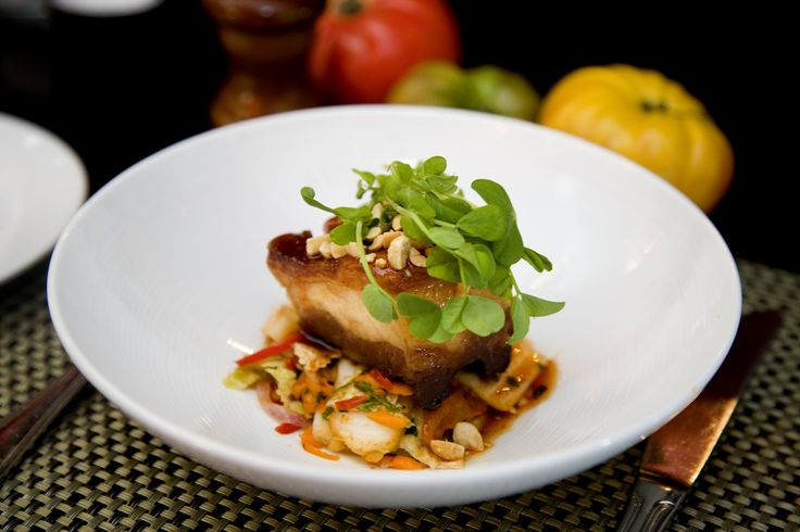 Crispy, sweet, spicy, glazed Pork Belly with Kimchi and crushed ...