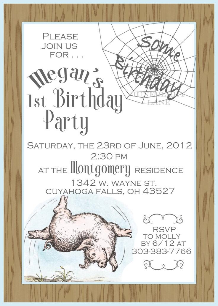 charlotte 39 s web birthday baby shower invitation the girls have