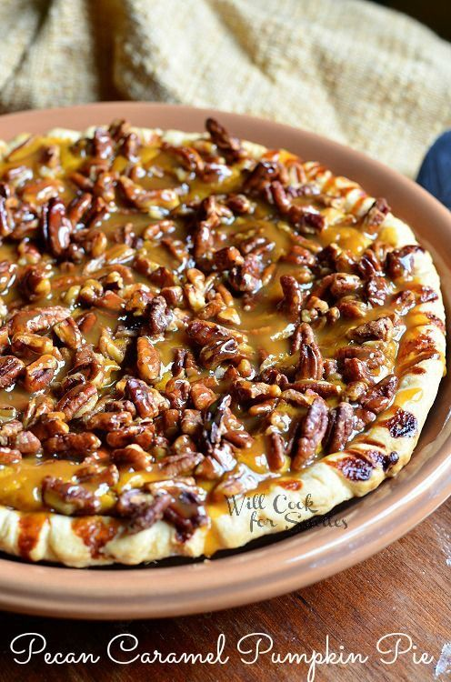 Pecan-Caramel Pumpkin Cheesecake Pie | from willcookforsmiles.com #pie #pumpkin #caramel
