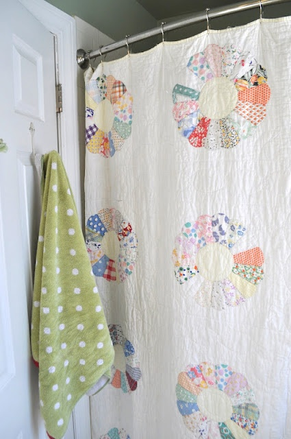 old quilt as a shower curtain....sweet   Clever   Pinterest