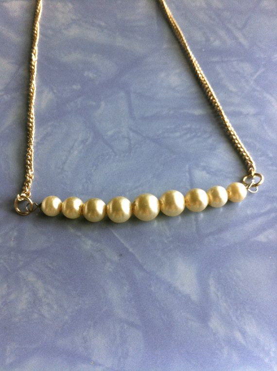 simple vintage real pearl necklace