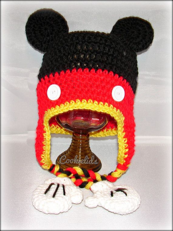 Crocheted earflap mickey mouse hat with mittens by cookielids on etsy
