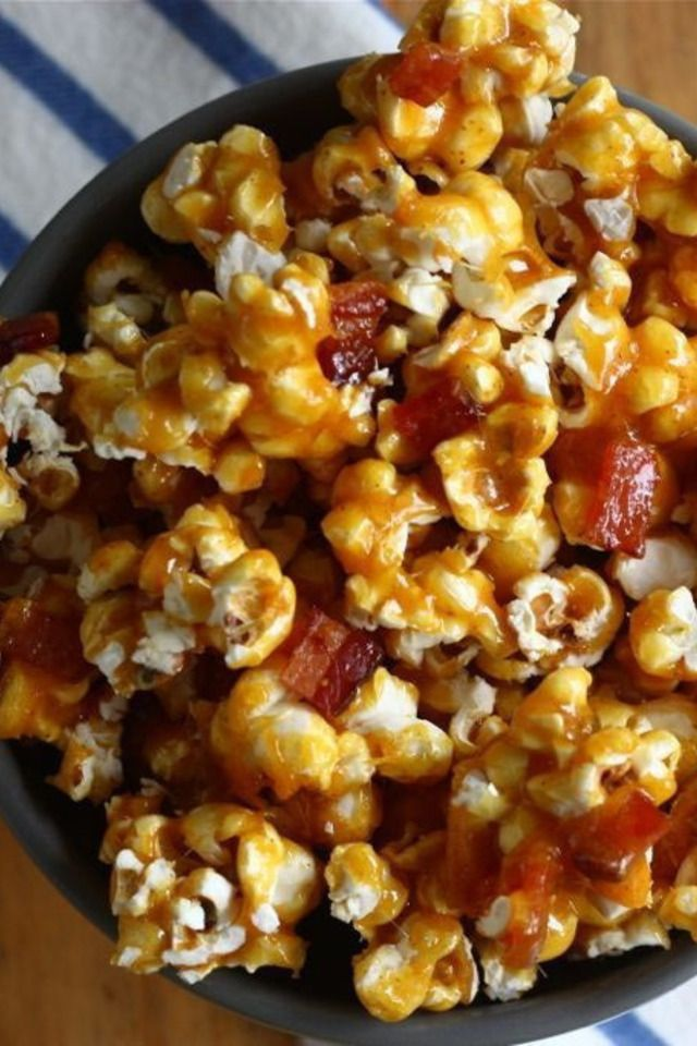 Spicy Caramel Bacon Popcorn | Foodie Faves | Pinterest