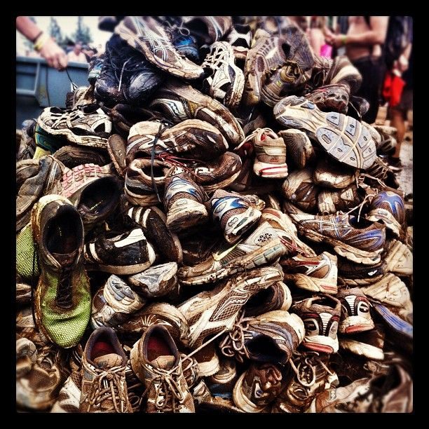 Donated shoes at Tough Mudder. Duct tape....a must