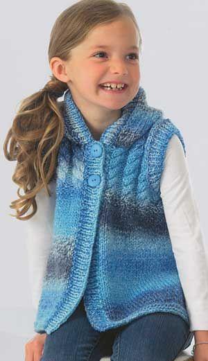 Vest Knitting Pattern For Children : CHILDS HOODED VEST PATTERN Knitting Pinterest