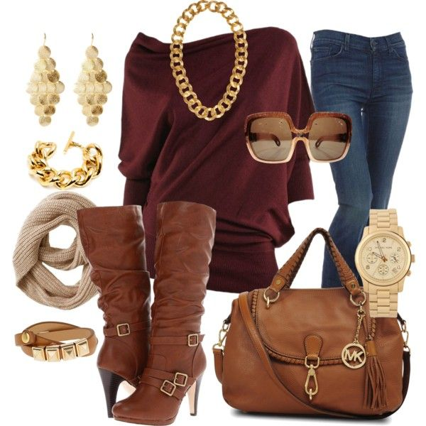 Burgundy with brown leather and gold. Nice combo!