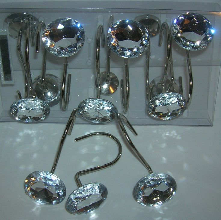 12 Decorative Rhinestone Rolling Shower Curtain Hooks