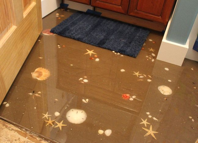 Sand and seashell floor with self leveling epoxy way cool