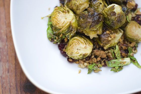 Duck Fat Roasted Brussel Sprouts with Almonds and Cranberries