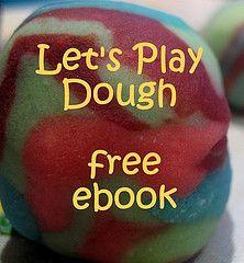 Playdough recipe, salt dough recipe, play dough ideas for every week of the year - Free ebook!