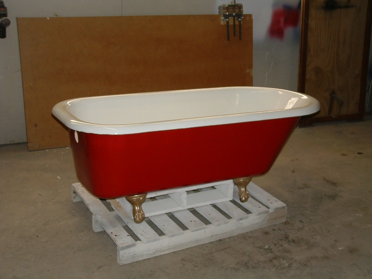 Red Clawfoot Tub Bathroom Pinterest