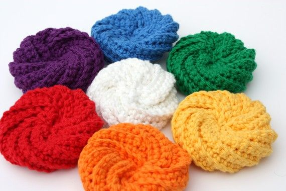 Crochet Patterns Only Spiral Scrubbie : Spiral Crochet Cotton Scrubbies crocheting Pinterest