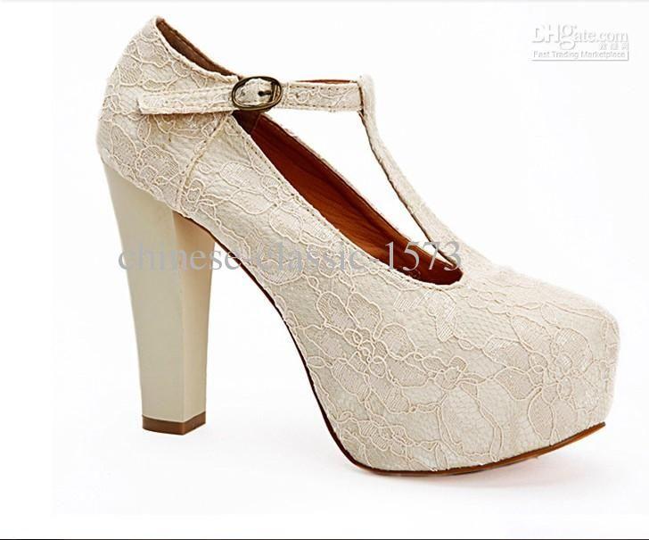 Ivory Lace Wedding Wedge T Strap Platform Women Waterproof Shoes