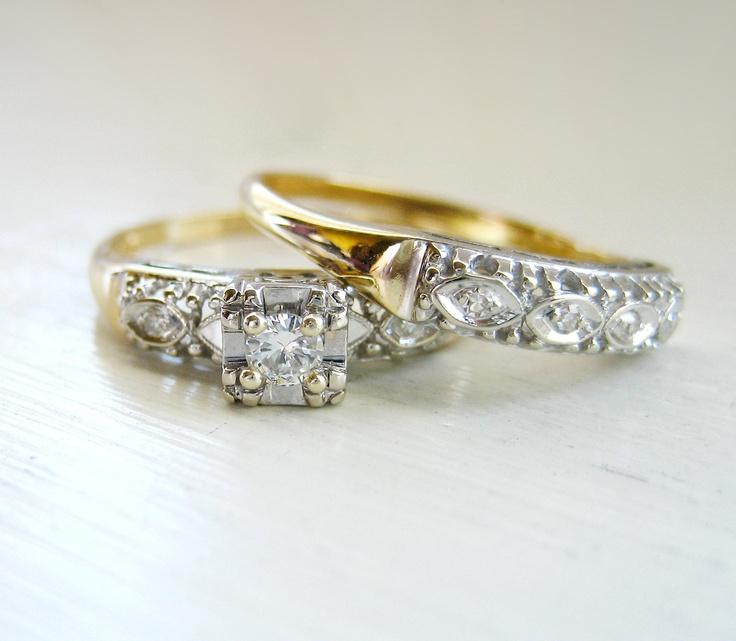 Vintage Art Nouveau Round Brilliant Diamond Engagement Ring 14kt Yell…